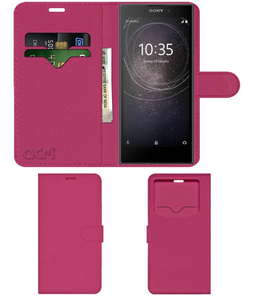 SONY XPERIA L2 Flip Cover by ACM - Pink Wallet Case,Can store 2 Card & 1 Cash Pockets