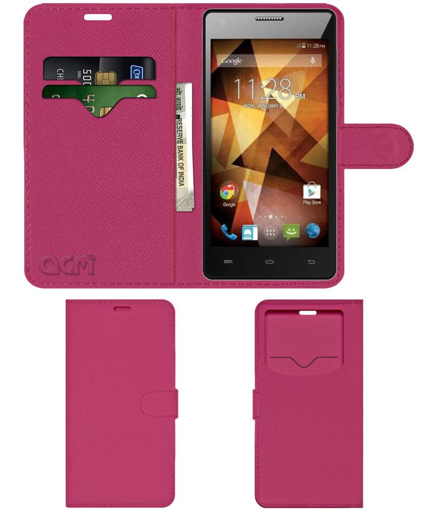 Spice XLife 511 Pro Flip Cover by ACM - Pink Wallet Case,Can store 2 Card & 1 Cash Pockets