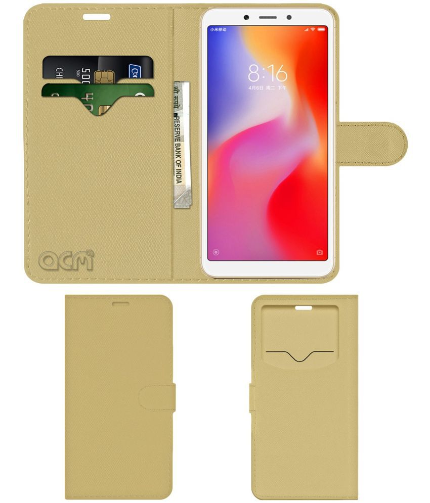 Xiaomi Redmi 6A Flip Cover by ACM - Golden Wallet Case,Can store 2 Card & 1 Cash Pockets