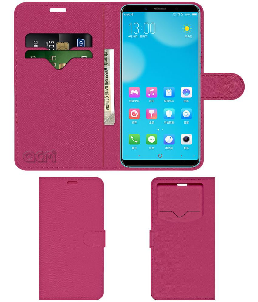 Zte Nubia Z18 Mini Flip Cover by ACM - Pink Wallet Case,Can store 2 Card & 1 Cash Pockets
