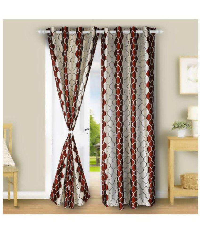 E-Retailer Set of 2 Door Semi-Transparent Eyelet Polyester Curtains Maroon
