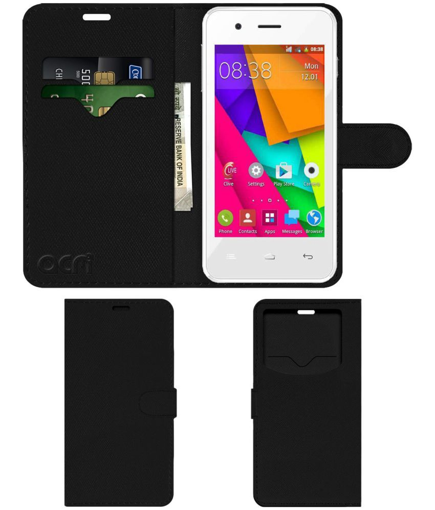 Celkon A406 Flip Cover by ACM - Black Wallet Case,Can store 2 Card & 1 Cash Pockets
