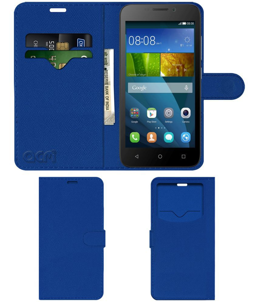 hot sale online f14f1 3a927 Huawei Honor Bee Flip Cover by ACM - Blue Wallet Case,Can store 2 Card & 1  Cash Pockets