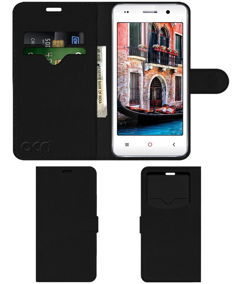 Iball Andi 4.5c Magnifico Flip Cover by ACM - Black Wallet Case,Can store 2 Card & 1 Cash Pockets