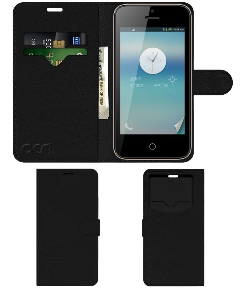 Spice Stellar 441 Flip Cover by ACM - Black Wallet Case,Can store 2 Card & 1 Cash Pockets