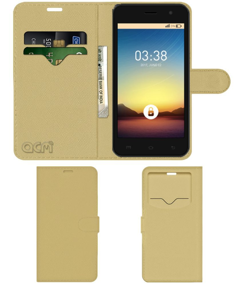 Ziox Astra Champ Plus 4G Flip Cover by ACM - Golden Wallet Case,Can store 2 Card & 1 Cash Pockets