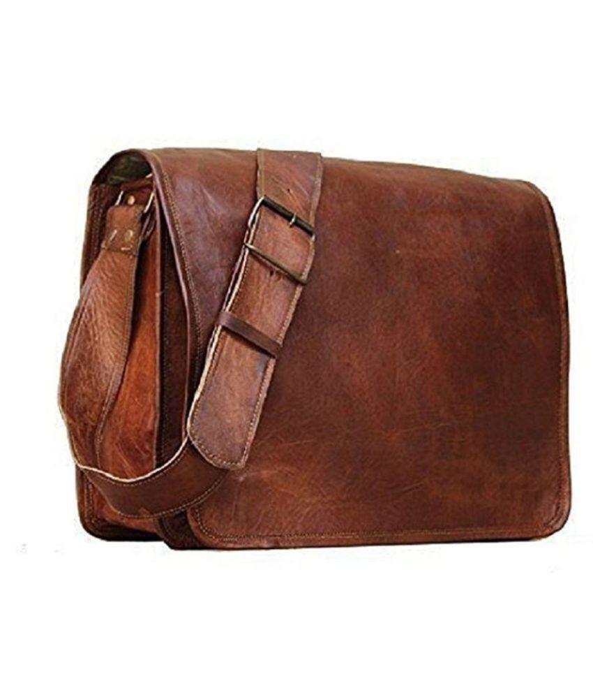 Anshika International Brown Leather Office Messenger Bag