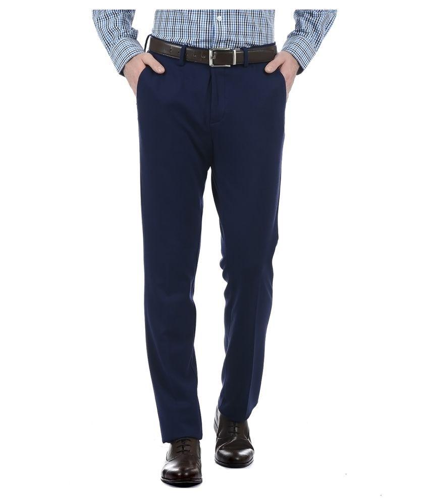 Arrow Navy Blue Regular -Fit Flat Trousers