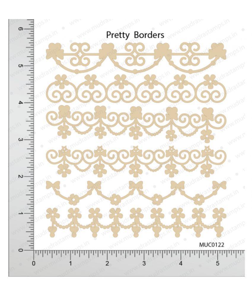 Mudra Chipzeb Pretty Borders Designer Chipboard Cuts High Quality White Color Boards Craft Embellishment Diy Scrapbooking Decoration