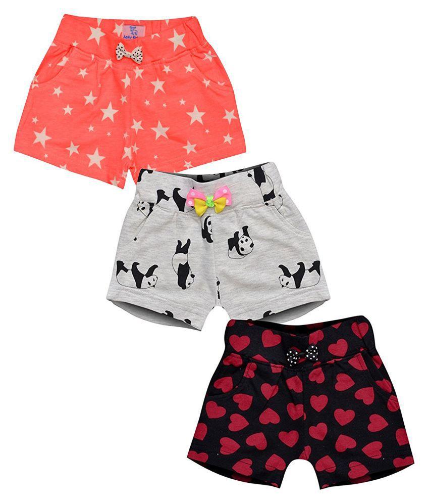Aatu Kutty Girl's Cotton Shorts - Pack of 3