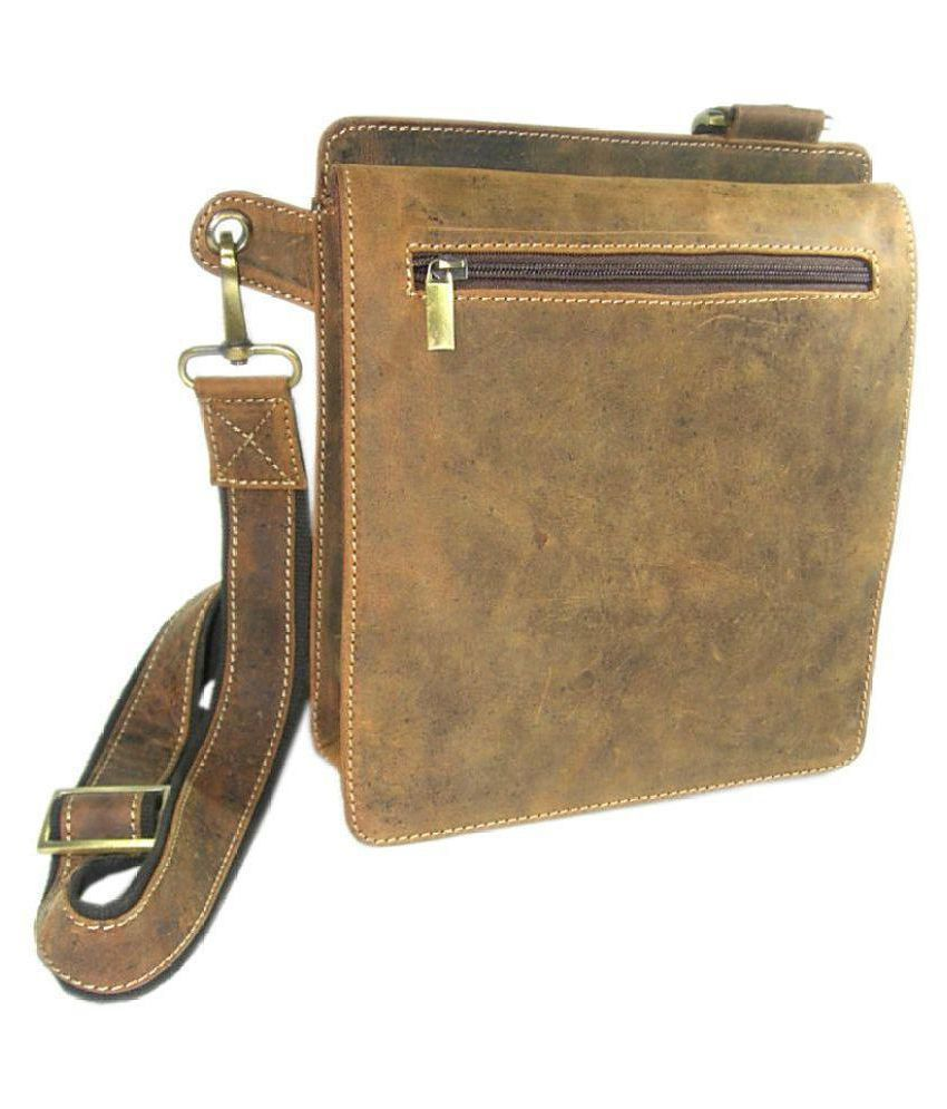 C & A Leather Brown Leather Casual Messenger Bag