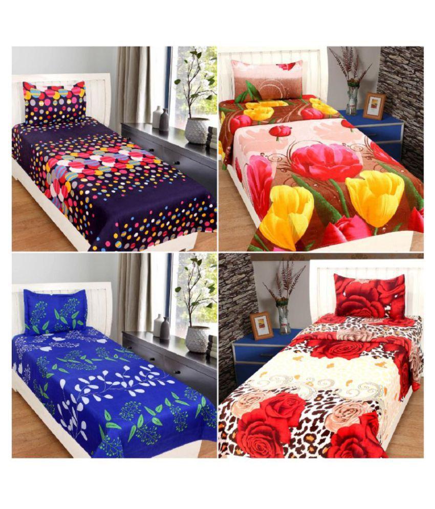 7136bd060b BSB Trendz Single Poly Cotton Multi-Colour 3D Print Bedding Set Set of 4 -  Buy BSB Trendz Single Poly Cotton Multi-Colour 3D Print Bedding Set Set of  4 ...
