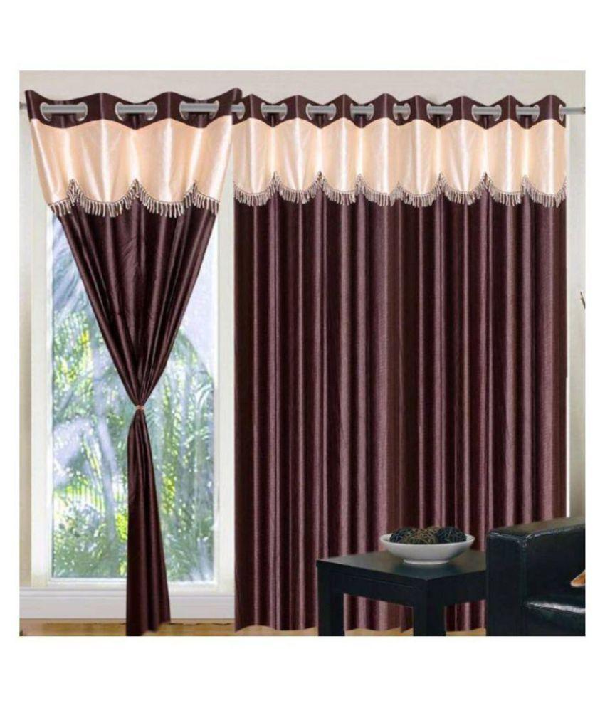Tanishka Fabs Set of 3 Door Semi-Transparent Eyelet Polyester Curtains Brown