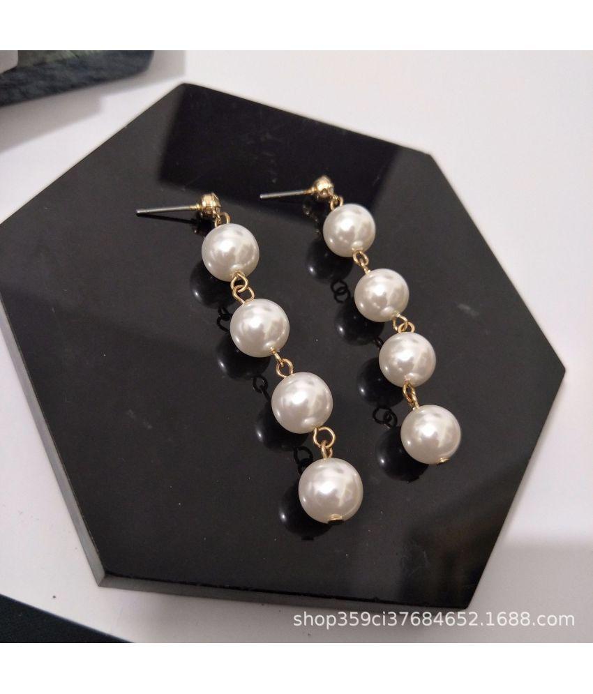 Temperament Long Tassel Pearl Earrings Noble Simple Ear