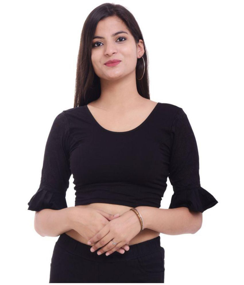 MAATE Black Lycra Readymade without Pad Blouse