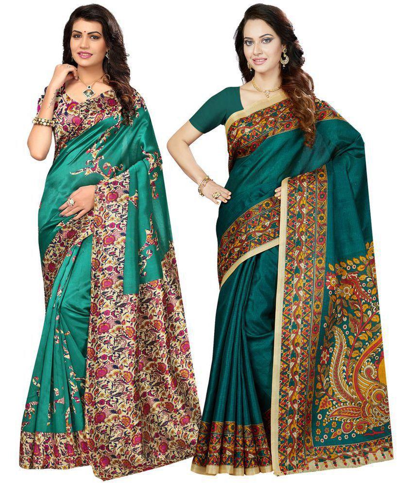 Ishin Multicoloured Silk Blends Saree Combos