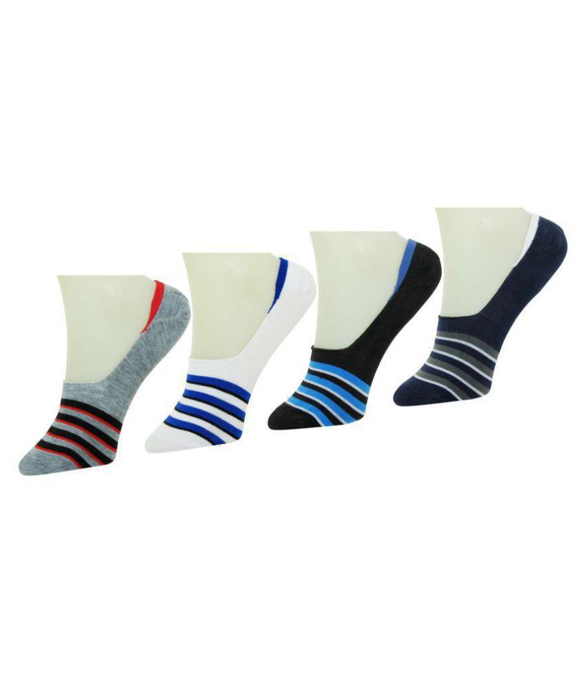 Neska Moda Premium Men & Women 4 Pairs Cotton Loafer Socks With Silicon Gel Grip-Multicolor