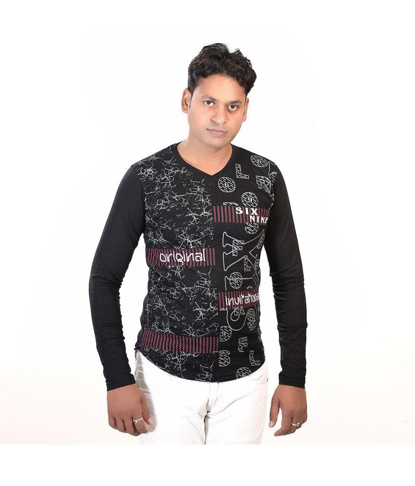 Trendy Duds Black Full Sleeve T-Shirt Pack of 1