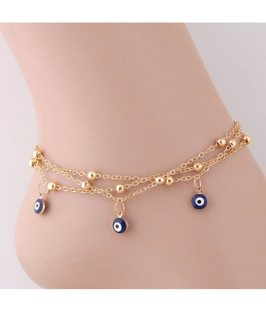 America Fashion Metal Simple Multi-Layered Eyebrow Personality Anklets Metal Balls Beads Fringe Eyes Anklets