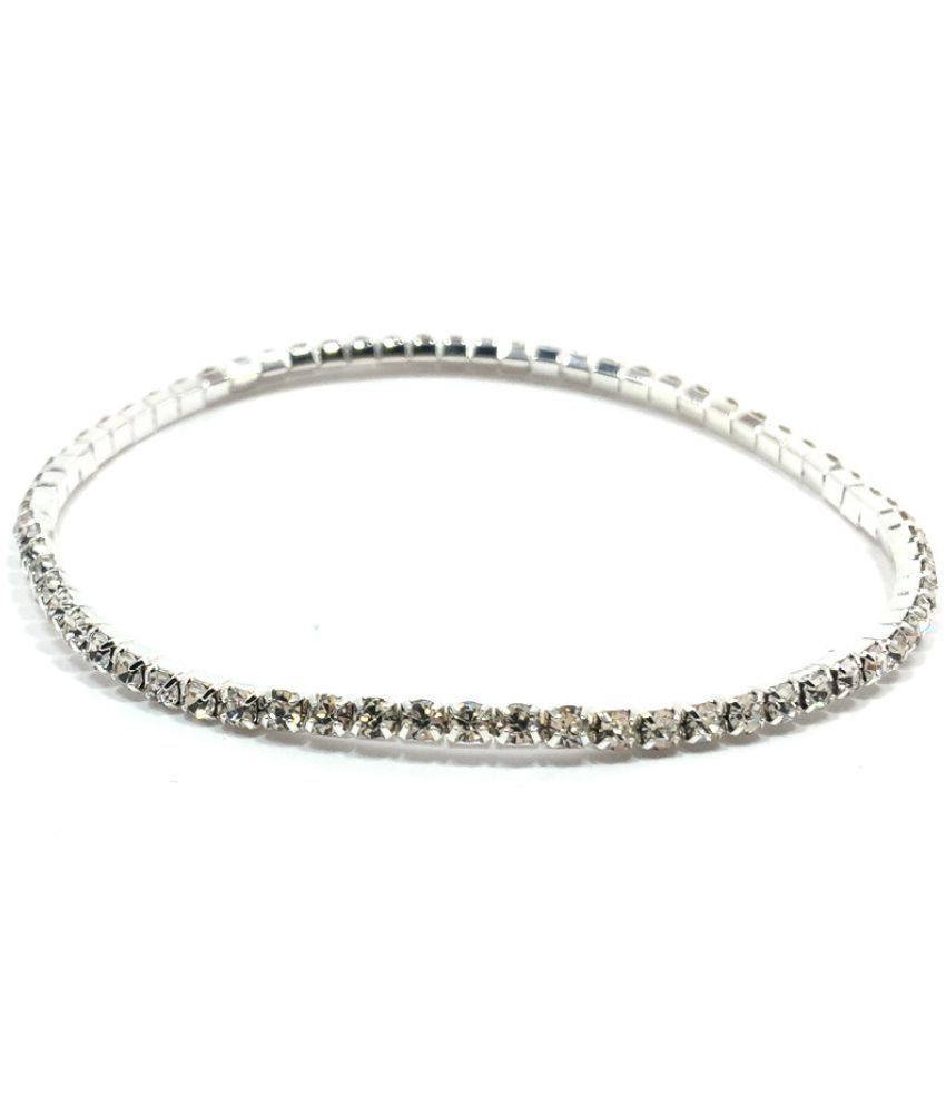 America Flash Drill Row Drill Elastic Crystal Anklet Bracelet Multi Layer Optional Silver Gold