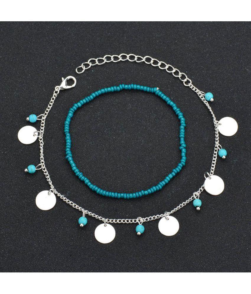 Bohemian Blue Turquoise Beaded Round Piece Beaded Chain Bracelet