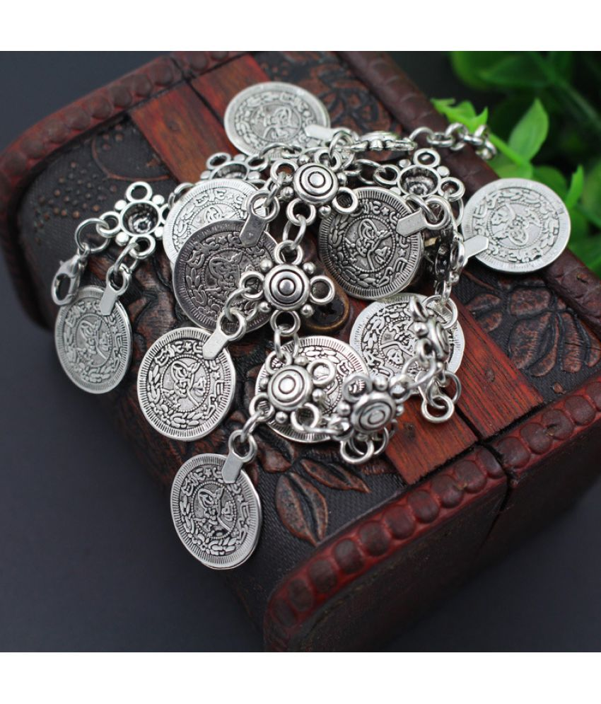 Bohemian Wind D Carved Round Coin Short Bracelet Retro Exaggerated Tassel Foot Ornaments