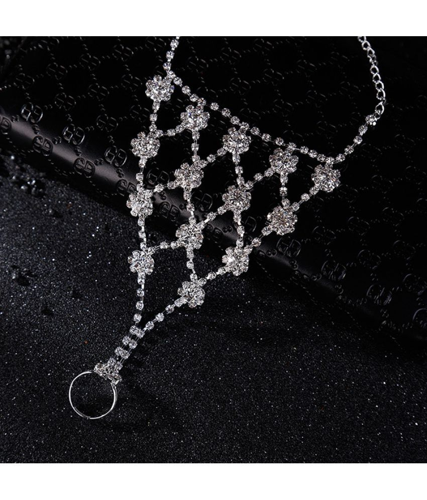 Fashion Bride'S Water Drill Foot Chain Leaf Foot Chain Beach Ornaments With Finger Chain Foot Ornaments