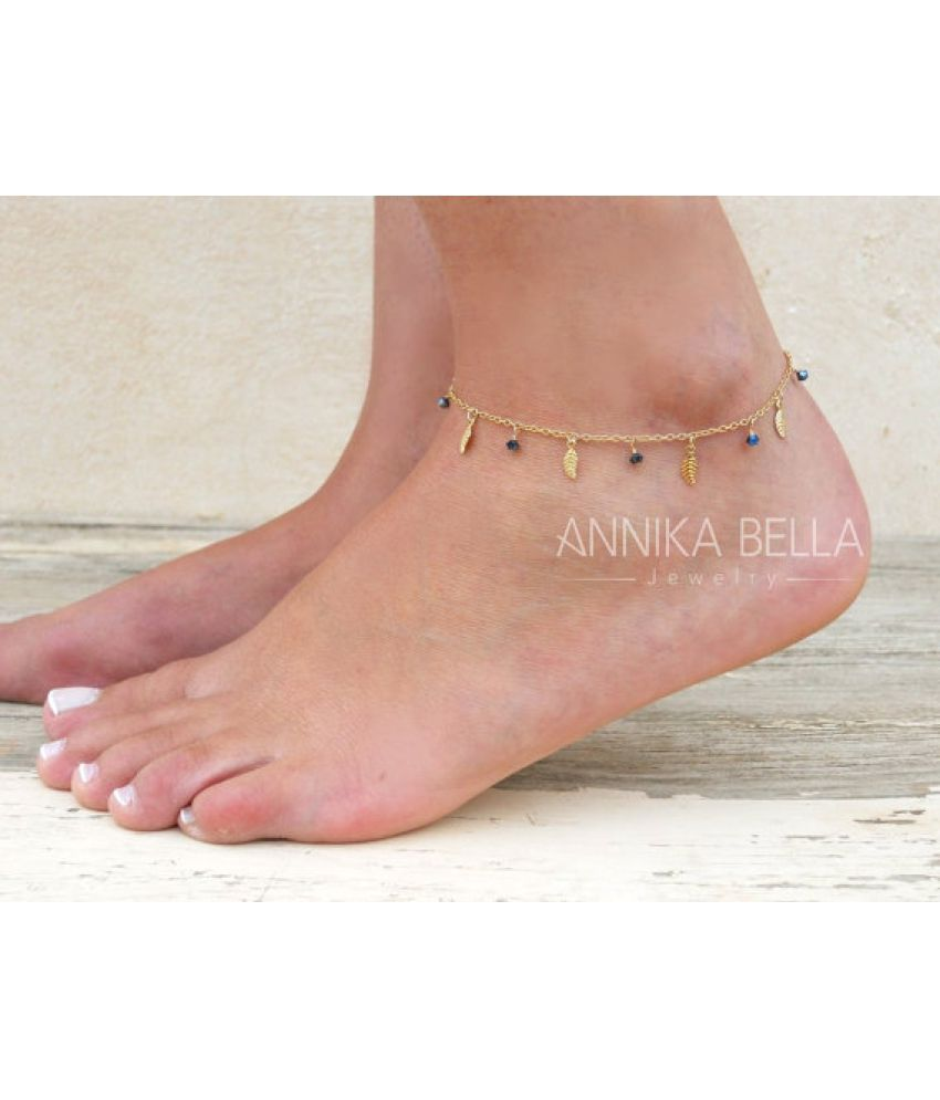 Foot Decoration Summer Popular Foot Ornaments Simple Exquisite Small Leaves Tassel Feet Chain Square