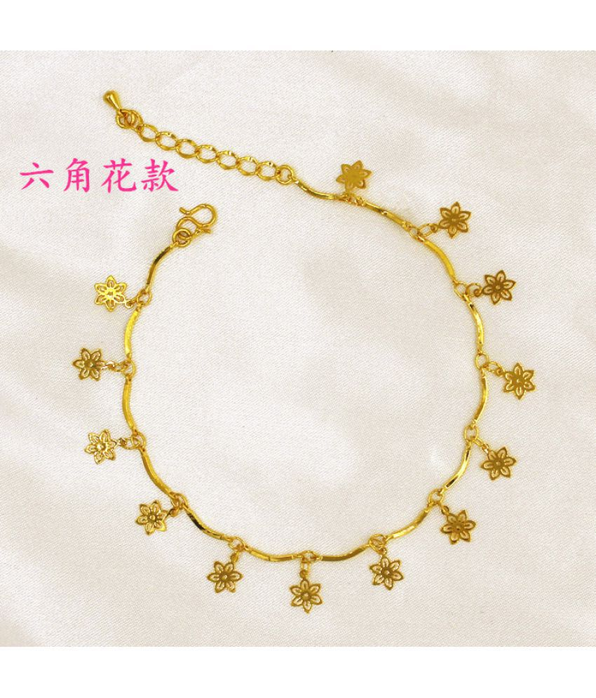 For A Long Time No Fading Currency Copper Plated Vietnamese Gold Placer Wedding Ankles Minimalist Women'S Clover Ankles Jewelry