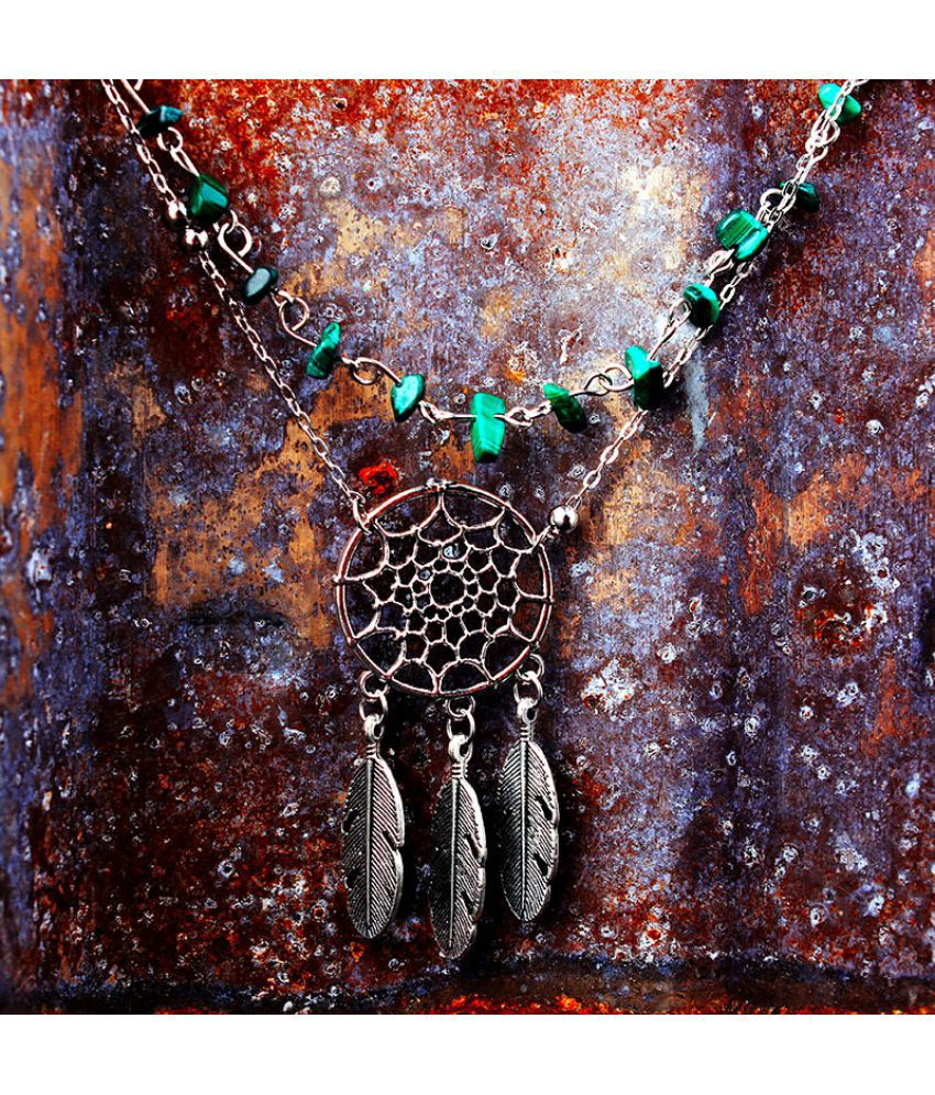Hot Feet Act Role Of Fashion Irregular Natural Malachite Green Hoard Of Hollow Out Dreamcatcher Feather Anklets