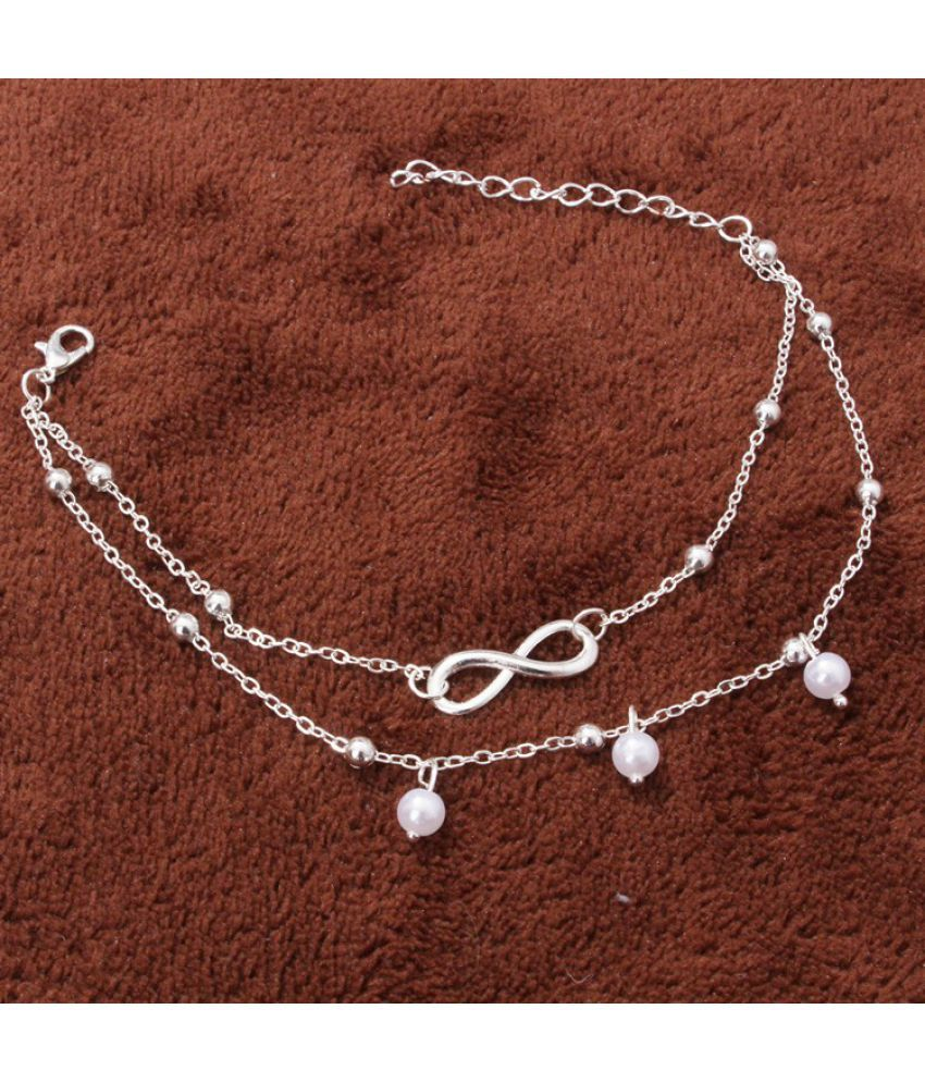 Jewelry Pearl 8-Character Chain Female D-Beaded Double Chain Toe Beach Foot