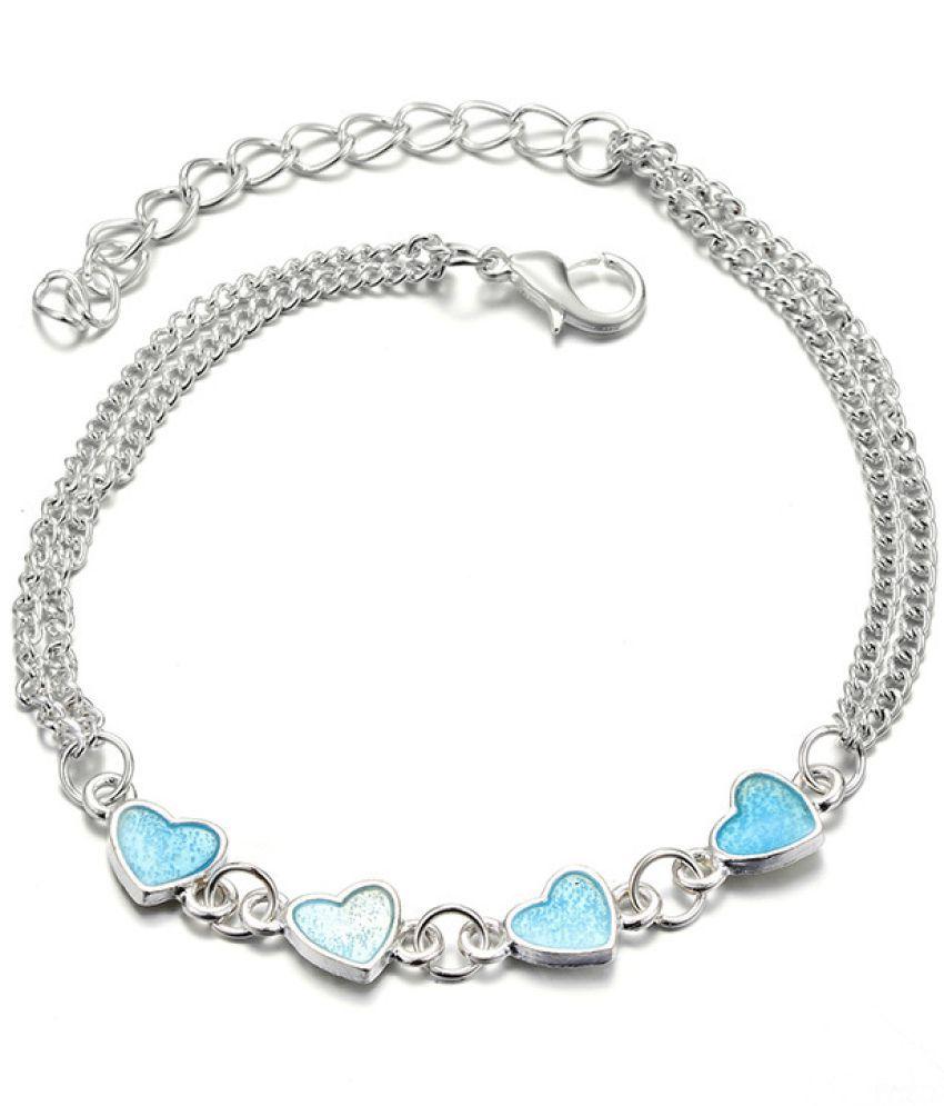 Lady Beach Wind Blue Night Light Heart Shaped Fringed Feet Chain Luminous Heart Peach Chain Jewelry