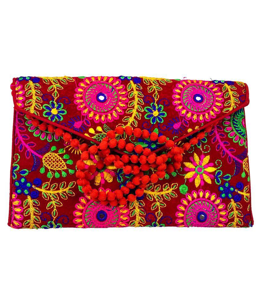 KABIR BAMBHAARI Red Fabric Crossbody