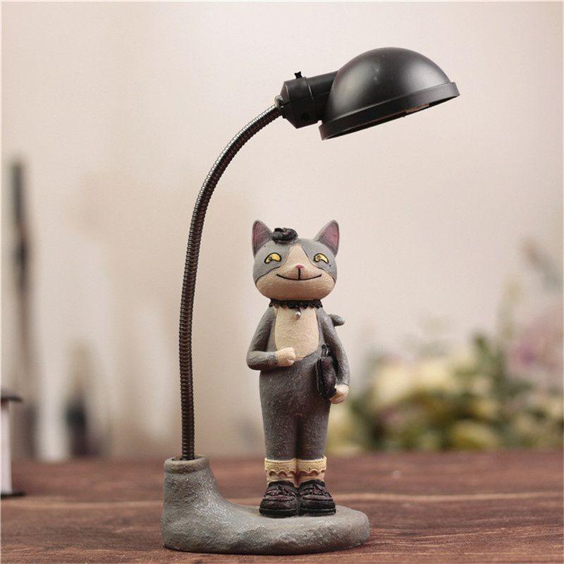 MKcat Cute Cat LED Night Light Resin Ornament Creative Table Lamp Home Decoration  Night Lamp Gray - Pack of 1