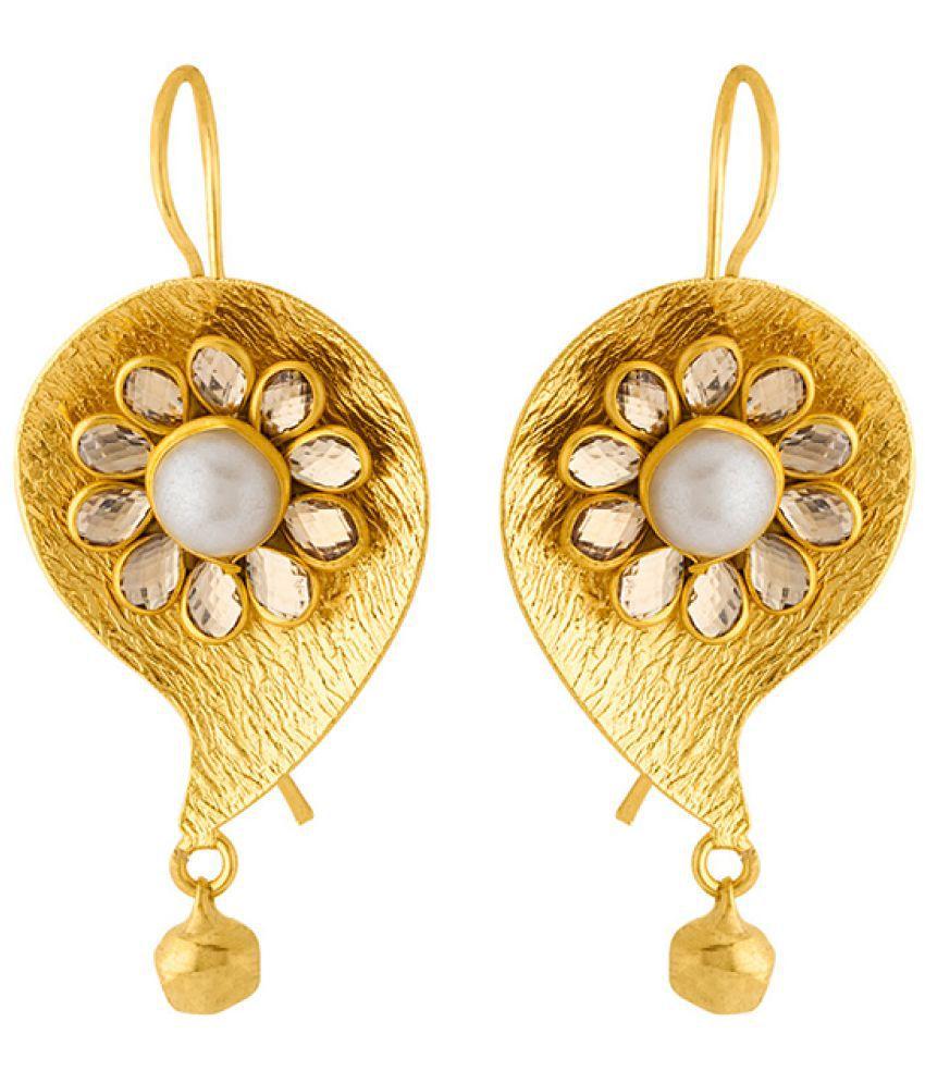 Voylla Gold Galore Paisley Pacchi Dangler Earrings For Women