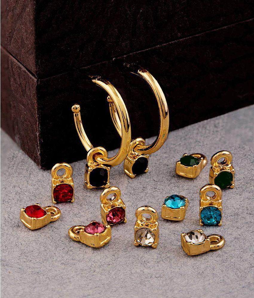 Voylla Sparkling Interchangeable Drop Earrings For Women