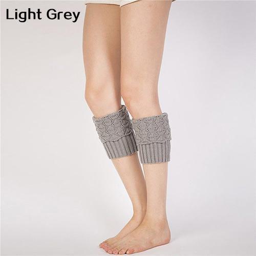 AB/_ Women/'s Crochet Lace Trim Leg Warmers Knit Knee High Boot Socks Stocking