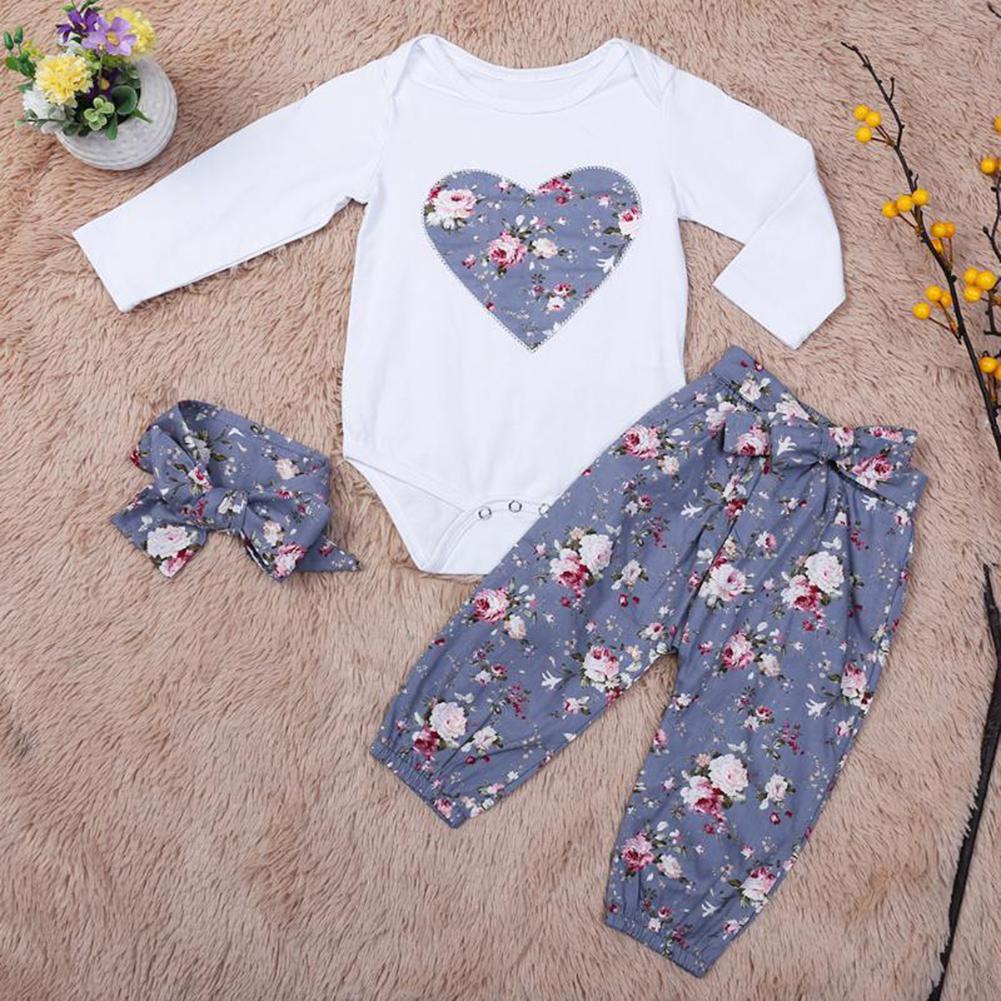 Kid Girls Glower Heart Cotton Clothing Set Long Sleeves Coat Pant Autumn Hairband