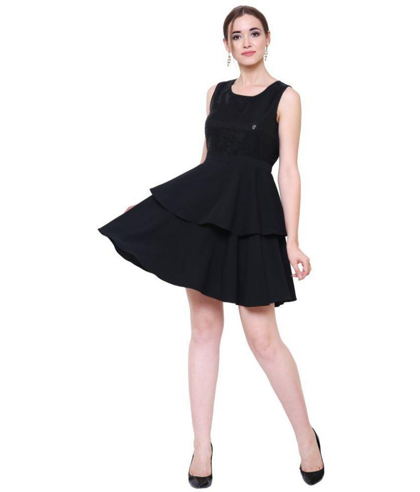 Dracht Crepe Black Fit And Flare Dress