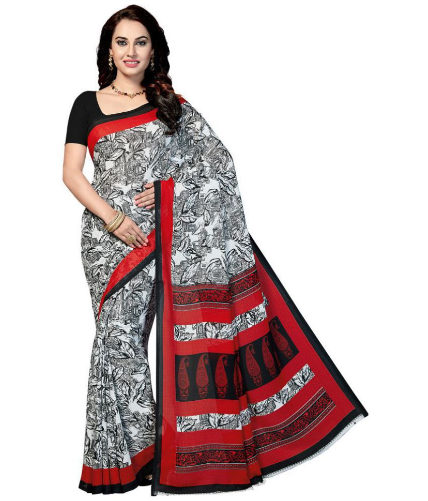 Ishin Red and Grey Georgette Saree