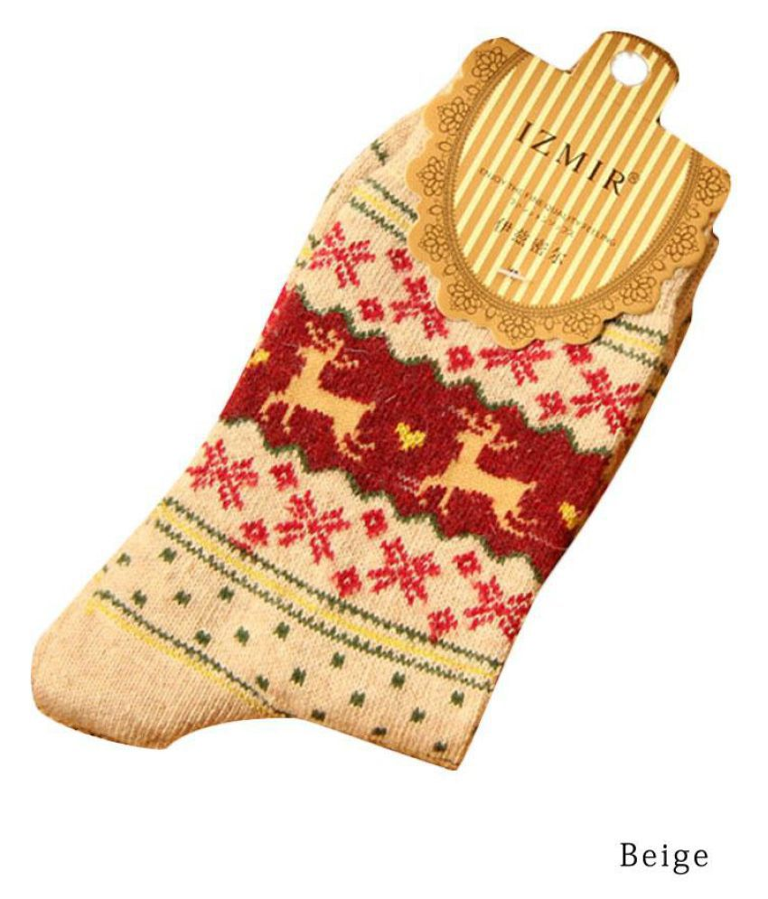 5 Pairs Women Warm Wool Sock Comfortable Winter Cute Snowflake Deer Socks Khaki