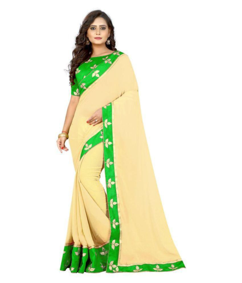 3da7711b8916ec Kuvarba Fashion Yellow and Beige Georgette Saree - Buy Kuvarba Fashion  Yellow and Beige Georgette Saree Online at Low Price - Snapdeal.com