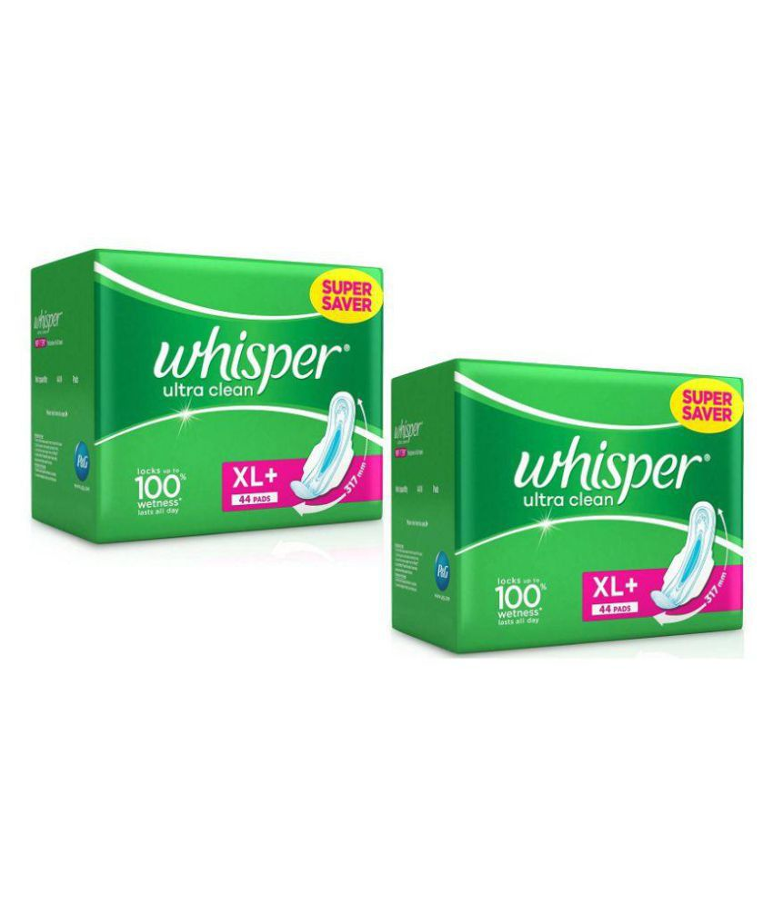 Wisper Ultra Clean Sanitary Pads Extra Large Plus 44 Pc Pack Set Of 2 XL Buy