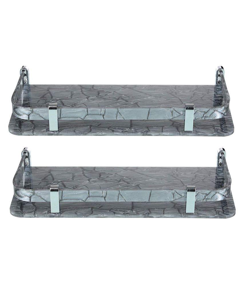 Desginer Marble looking Acrylic shelf Size 6 #034; x 12 #034;  Set of 2 Color  grey
