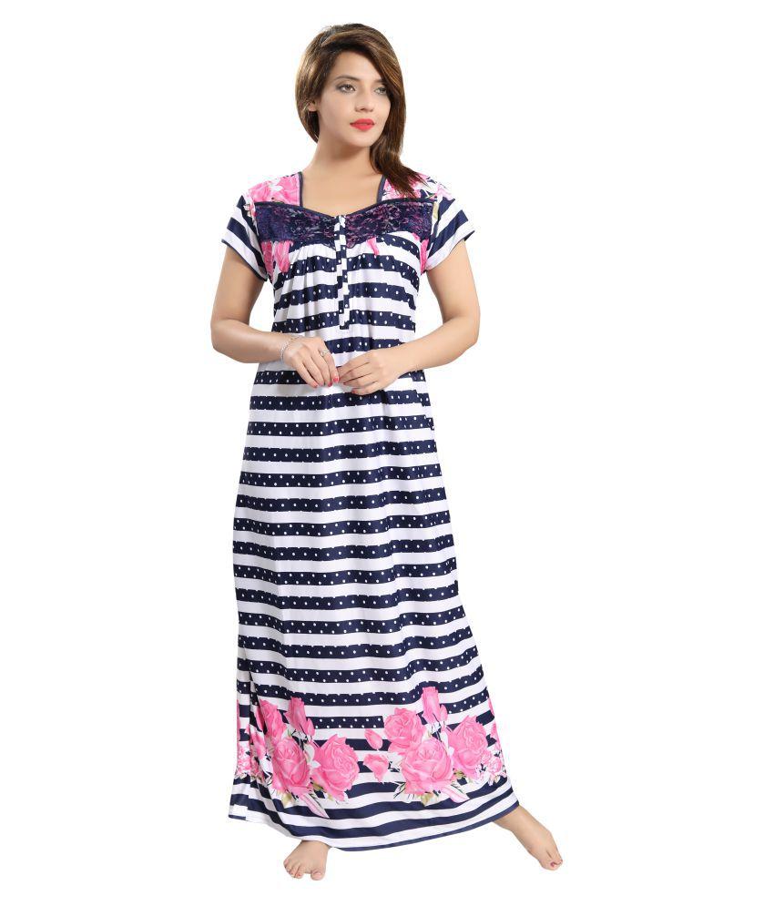Pingaksh Satin Nighty & Night Gowns - Blue