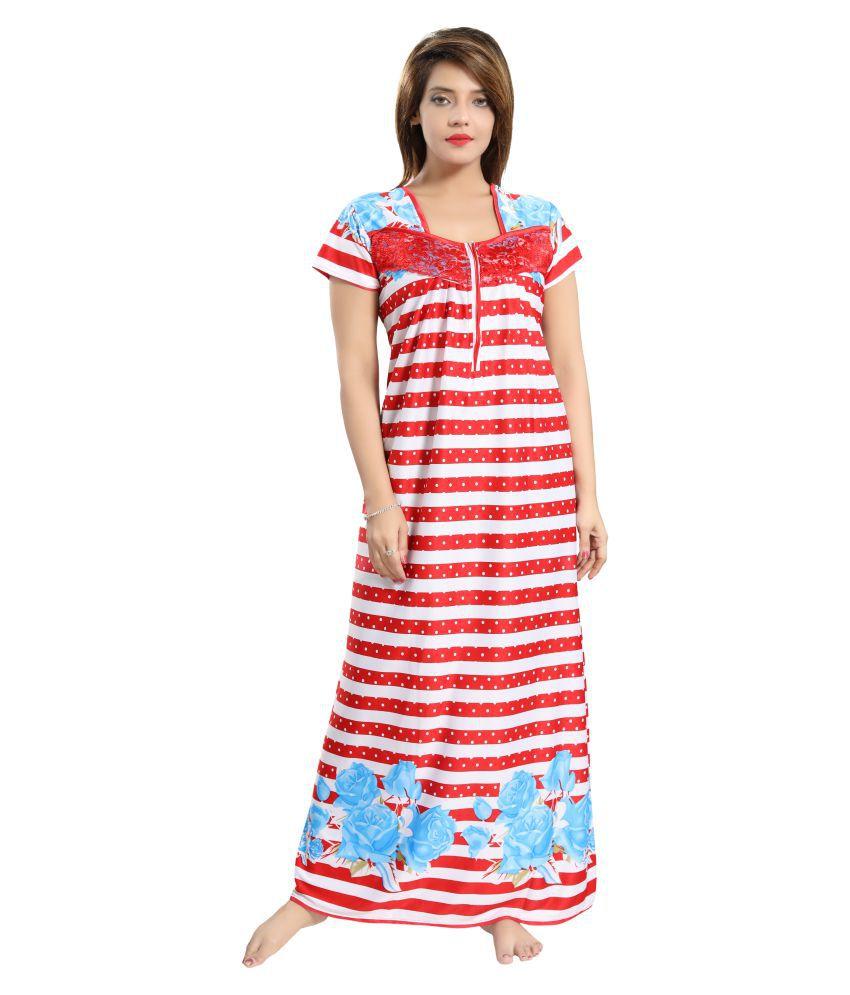 Pingaksh Satin Nighty & Night Gowns - Red