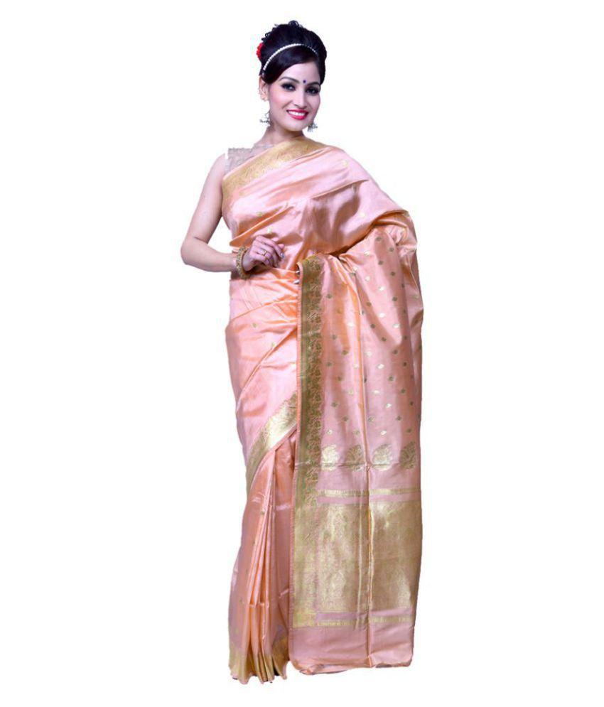 Bridaal Royal Peach Banarasi Silk Saree