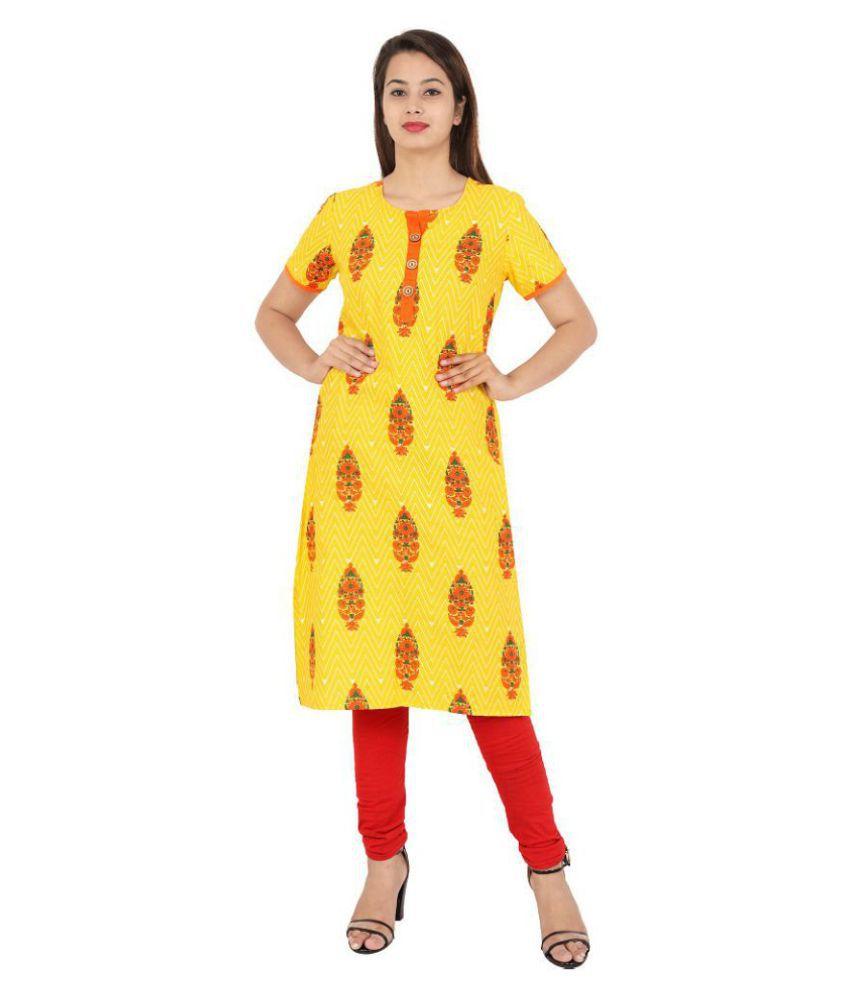 Kavya Fashions Yellow Cotton Straight Kurti