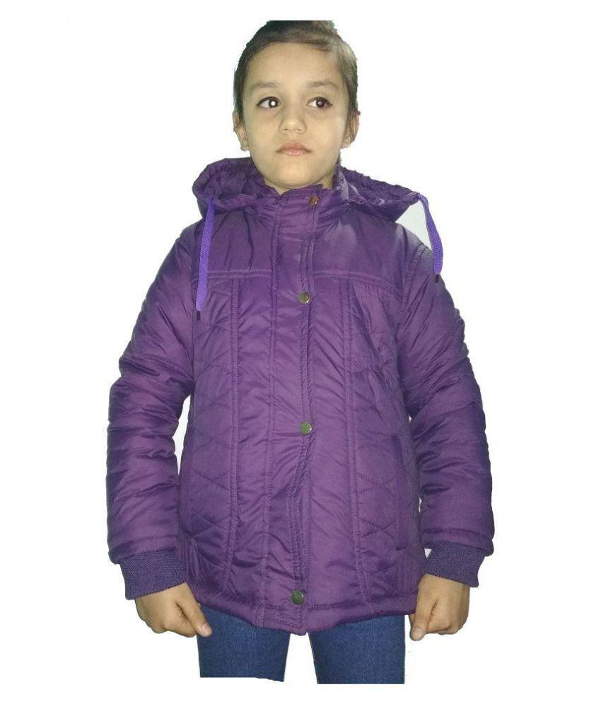 Hudbil Girls Polyester Jacket (HB-11-12_Purple_11-12 Year)