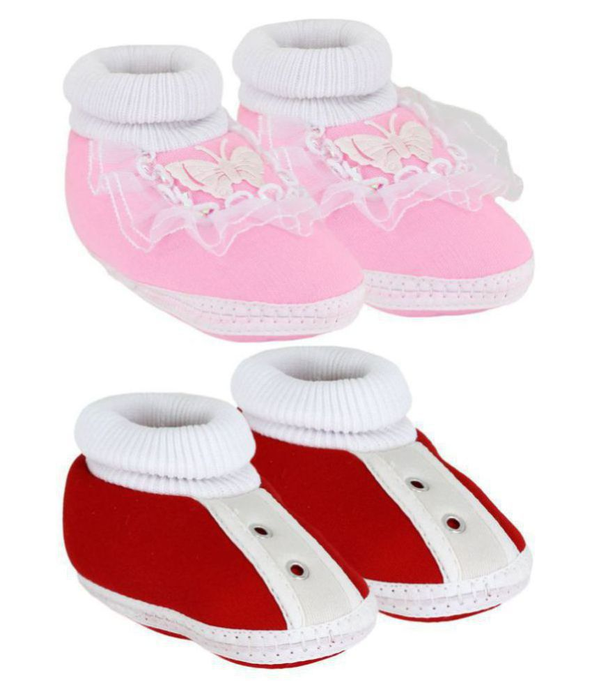 Neska Moda Pack Of 2 Baby Boys & Girls Pink And Red Cotton Booties For  0 To 12 Months